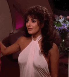 Marina Sirtis as Counselor Deanna Troi on the television series Star Trek: The Next Generation Marina Sirtis, Beverly Crusher, Deanna Troi, Star Trek Characters, Star Trek Ships, Star Trek Universe, Star Wars, Gorgeous Women, Science Fiction