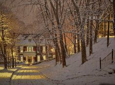 A Quebec painter Richard Savoie is known for his work with pastel. He studies art with Gabrielle Messier and Yolaine Lefebvre and becomes a full time artist by the Creation Photo, Winter Painting, Painting Snow, Christmas Scenes, Christmas Lodge, Merry Christmas, Christmas Pics, Winter Scenery, Snow Scenes