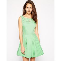 AX Paris Cutwork Dress with Pleated Skirt ($28) ❤ liked on Polyvore featuring dresses, sea green, laser cut dress, boatneck dress, mesh fit and flare dress, pleated fit and flare dress and zip dress