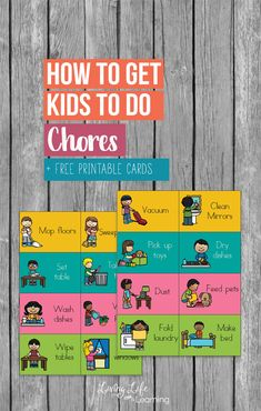 Need help around the house? Tips on how to get kids to do chores - finding ways for your kids to help you with the house is a wonderful way to work together as a family. Parenting Books, Kids And Parenting, Parenting Styles, Parenting Plan, Parenting Classes, Free Printable Cards, Free Printables, Chores For Kids By Age, Kid Chores