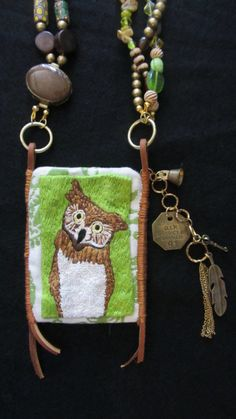 Items similar to Green Woods Owl on Etsy Wood Owls, African Trade Beads, Tiny Treasures, Venetian Glass, Little Bag, Wooden Beads, Dog Tags, Inventions, Hand Embroidery