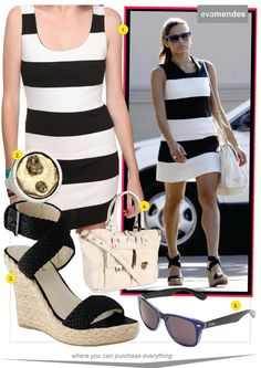 New Blog Post: Eva Mendes rocks wide stripes & how to get her look: http://www.richesforrags.com/2012/06/black-and-white-and-lots-of-stripes-eva.html