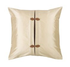 Oriental Ivory Silk Cushion with Chinese Button Knot