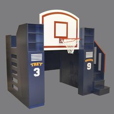 Bunk beds are one of childhood's simplest pleasures. Check out 16 cool bunk beds you wish you had when you were a kid. Basketball Bedding, Sports Bedding, Bunk Beds With Stairs, Kids Bunk Beds, Backboards For Beds, Modern Bunk Beds, Build A Playhouse, Indoor Playhouse, Castle Playhouse