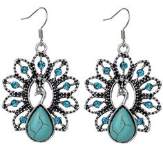 Euone Bohemia Retro Owl Vintage Peach Heart flower Butterfly Peacock Turquoise Earrings Delicate Carved Hollow Jewelry D ** Check out this great product.-It is an affiliate link to Amazon. #WeddingEarrings