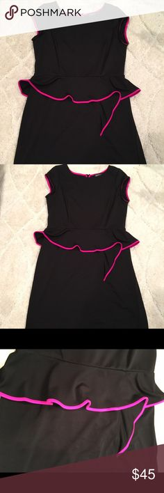 Olga Cassini Black and hot pink dress! Sz 14 Such a hot dress! The pink detail is so much fun and I've gotten so many compliments the 2 times I have worn it! Fabric has stretch and it contours to all your curves! Peplum detail is so flattering around the mid section. You need this dress! olga cassini Dresses Midi