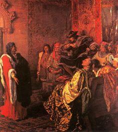 """Ramon Tusquets, """"El conseller segon de Barcelona Joan Fiveller exigeix al rei Ferran d'Antequera que pagui els drets del vectigal de la carn (1416)"""" 1885"""