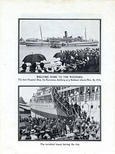 First hospital ship (Kanowna) returning wounded from First World War to Brisbane 28 November 1915