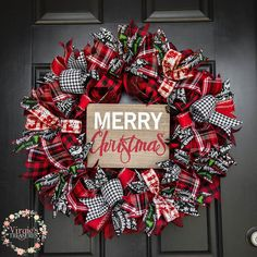 Premium Merry Christmas Wreath, Buffalo Plaid Holiday Wreath, Buffalo Check Christmas Wreath, Christmas Wreath, Holiday Wreath by VirgiesTreasures on Etsy