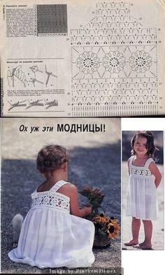 White sun dress for girl ~ crochet yoke and fabric skirt ~~ http://crochetknitunlimited.blogspot.com/2013/02/for-girl.html