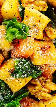 Toasted gnocchi, butternut squash, kale and walnuts are all tossed together in the yummiest sage brown butter sauce -- total autumn comfort food. Best Italian Recipes, Great Recipes, Rollatini, Brown Butter Sauce, Ricotta Gnocchi, Italian Meatballs, Recipe Instructions, Roasted Butternut Squash, Homemade Sauce