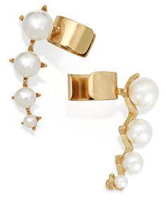 Macy's Gold-Tone Graduated Faux Pearl Ear Cuffs