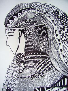 Zentangle Hair - student work - Ashley Middle School Art Projects, Visual, Drawings, Zentangle, Painting, Doodles, Art