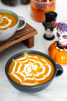 This spooky Halloween spiderweb carrot soup is creamy, healthy, and delicious. It's perfect as a Halloween party food or Halloween dinner! #halloweenrecipe #easyhalloweenrecipe #healthyhalloweenrecipe #halloweendinneridea #halloweenpartyfoodidea #halloweenfoodidea #carrotsoup #spookyhalloweenfood #halloweendish #easyhalloweenfood #spiderwebsoup
