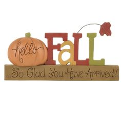 Blossom Bucket 'Hello Fall' on Base with Pumpkin Letter Blocks