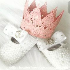 Vintage crowns and pearl shoes have us like  One of our favourite suggestions for a baby shower or first birthday gift - is something unique! These gorgeous pearl shoes and crowns are just that!  Something special for that little princess in your heart