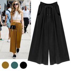 De las mujeres grandes yardas de ancho pierna pantalones nueve pantalones de pierna ancha cintura elástica pantalones de la falda ocasional