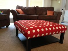 DIY ottoman from IKEA Lack table.