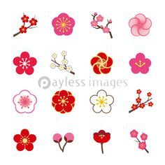 Find Plum Blossom Icon Set stock images in HD and millions of other royalty-free stock photos, illustrations and vectors in the Shutterstock collection. Flower Pattern Drawing, Flower Patterns, Japanese Quilts, Japanese Art, Logo Fleur, Plum Flowers, Flower Logo, Oriental Pattern, New Years Decorations