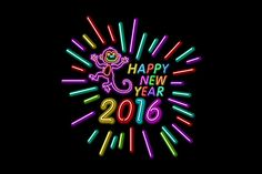 Happy New Year neon light Monkey by Rommeo79 on Creative Market