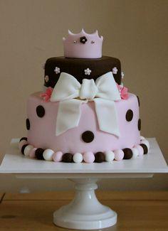 brown and pink princess cake
