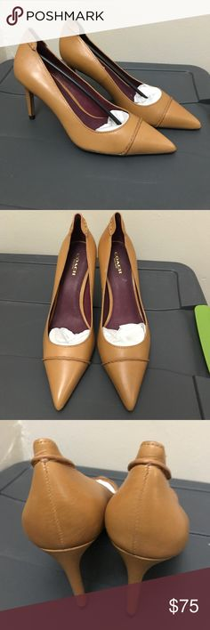 Coach Veranda Veg Leather Ginger Pump 7.5 ***SPRING CLEANING - EVERYTHING NEEDS A NEW HOME :0) *** These were worn once (see pics). Coach Veranda no longer sold. Size 37.5 and too big for me (hence they were only worn once) so sad I couldn't find them in my size so I held on to them but never wore them again. I love them though but my feet flopped even with pads. No box as they were stored in a plastic bin. Heel is ~3.25 - 3.5 in. Offers are accepted. Please feel free to check out my other…