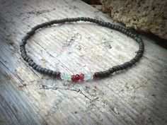 Mens bracelet Garnet aquamarine and ruby bracelet by DESERTDUSTMEN