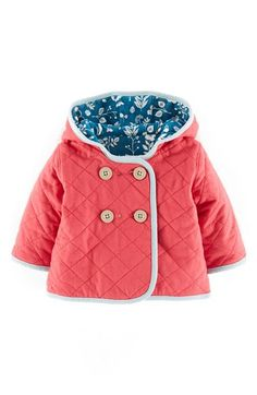 Mini Boden 'Cosy' Quilted Reversible Jacket (Baby Girls) available at #Nordstrom