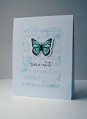 Butterfly Dreams, Happy Trails (Papertrey Ink)/Musical Background (Kaisercraft)  Ink: London Fog, Tuxedo Black (Memento)/Hawaiian Shores (Papertrey Ink)  **stamp off butterflies first in bkgrnd