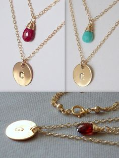 Initial Disc Birthstone Necklace -  Double Strand Necklace -Personalized - 14K Goldfilled. $48.00, via Etsy.