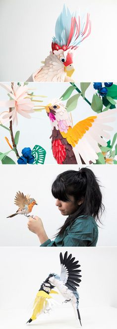 fly away with Diana Beltran Herreras paper bird sculptures Kirigami, Paper Clay, Diy Paper, Paper Illustration, Illustrations, Art Carton, Pop Up, Instruções Origami, Papier Diy