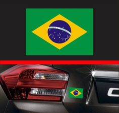 4  Brazilian Flag Vinyl Decal Bumper Sticker Brazil Car Decal JDM Fits Honda