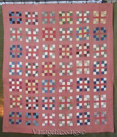 EARLY-Civil-War-Era-PA-Turkey-Red-4-Square-QUILT-Never-Washed-Bars-Back-BEAUTY