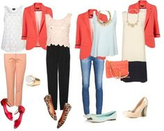 outfits with blazers | coral blazer outfit 1 top pants shoes ring outfit 2