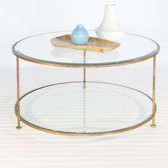 """Worlds Away - Rollo gold leafed coffee table, round, 37"""" diameter, 18""""h, beveled glass."""