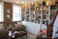 Ah- built in shelves! Finding Home Living Room Book Case Formal Living Rooms, My Living Room, Home And Living, Living Room Decor, Living Spaces, Cozy Living, Dining Room, Bookshelves In Living Room, Bookshelves Built In