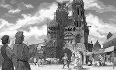 Cathédrale de Laon en construction.