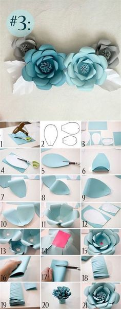 Paper Flowers Craft, Large Paper Flowers, Paper Flower Wall, Paper Flower Backdrop, Paper Roses, Flower Crafts, Diy Flowers, Origami Flowers, How To Make Flowers Out Of Paper