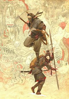 Rising Sun concept art (part by adrian smith Arte Ninja, Ninja Kunst, Ninja Art, Samurai Drawing, Samurai Artwork, Oriental, Fantasy Warrior, Fantasy Art, Warrior Concept Art