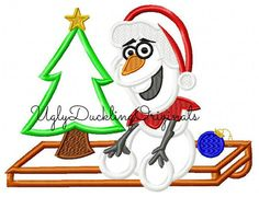 Frozen Olaf OLelf Sitting Christmas Machine by UDOappliques Applique Designs, Embroidery Designs, Christmas Applique, Olaf Frozen, Disney Christmas, All Sale, Iron On Patches, Machine Embroidery, Original Artwork