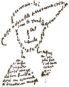 Guillaume Apollinaire,  calligramme,  extrait du poème du 9 février 1915,  (poèmes à Lou).