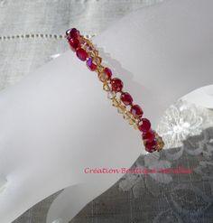 Bracelet sur deux rangs en perle de verre rondes et cristal à facettes « Callista » par Boutique Astrallia : Bracelet par boutique-astrallia