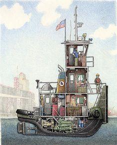 Boat Drawing, Ship Drawing, Estilo Tim Burton, Boat Illustration, Boat Art, Nautical Art, Tug Boats, Boat Design, Ship Art