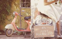 Loving the color palette and unique Mediterranean touch; a perfect finish for an outdoor spring wedding! #springweddings #vespa #justmarried
