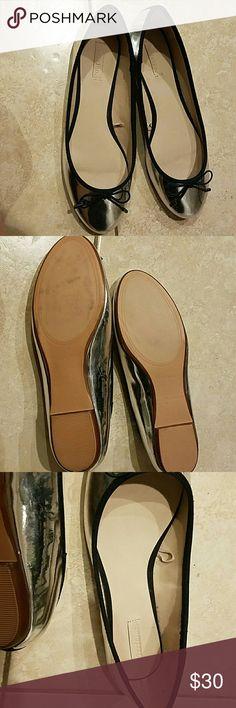Zara silver flats Zara silver flats barely worn. Zara Shoes Flats & Loafers