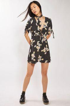 Spot Floral Tie Tea Dress