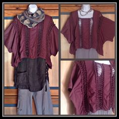 Unique German Designer Grungy Peasant Tunic Top Dare to turn heads with this awesome short designer top. Great piece to complete your Lagenlook outfit. This is a rich eggplant purple and one size fits most. 100% cotton. Barbara Speer Tops