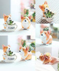 [Visit to Buy] Microlands chaft Succulent Cactus Herb Corgi Dog Planter Pot Trays Potted Flower Craft Miniature Ornament Garden Plant Container #Advertisement