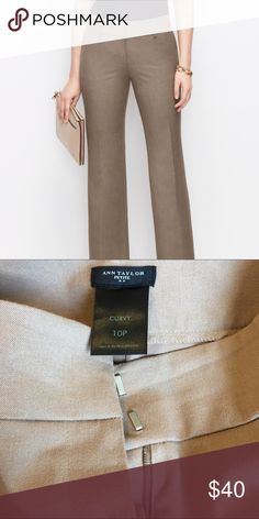 """Ann Taylor Curvy Trouser 10P LIKE NEW Only worn once, just no longer fits. Size 10P, 30"""" inseam, contoured waistband, belt loops, tailored for a comfortable fit. Wide leg. Ann Taylor Pants Trousers"""