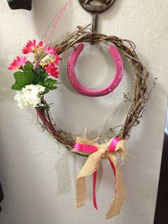 Western wreath Burlap and Horse Shoes with Wine Grape Vines Rustic Western Country Home Decor  on Etsy, $20.00